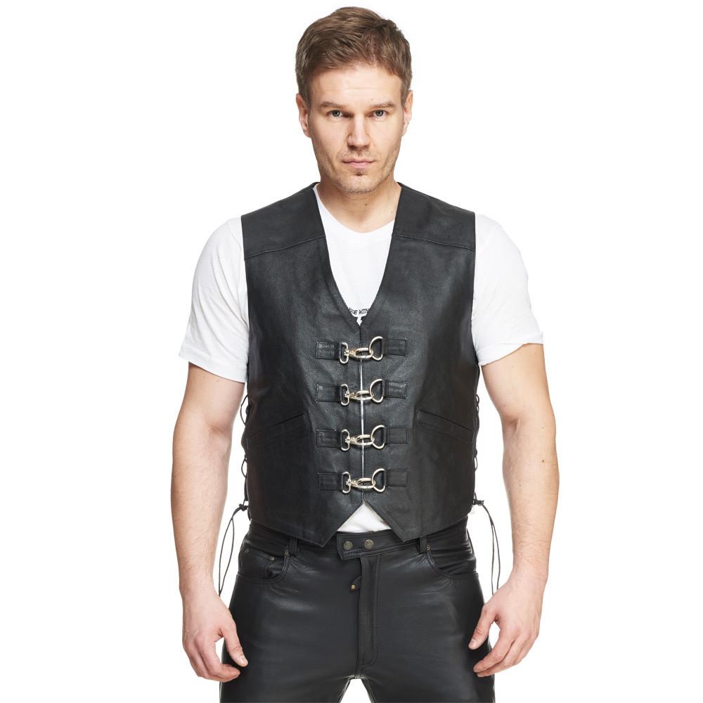 Kostuumvest Op Jeans.Sweep Smoker Leather Vest