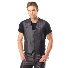Sweep Classic leather vest, brown