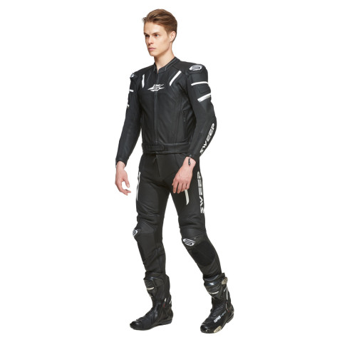 Sweep Forza 2 piece leathersuit, black/white