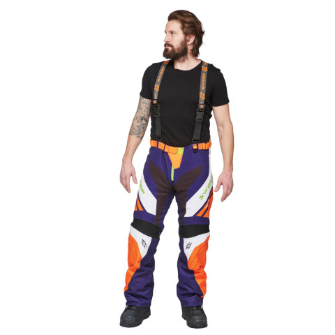 Sweep Racing Division 2.0 snowmobile pant, blue/orange/white/green